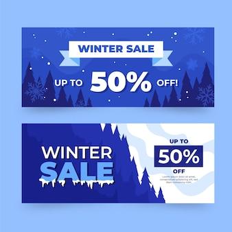 Ensemble de bannières de vente d'hiver dessinés