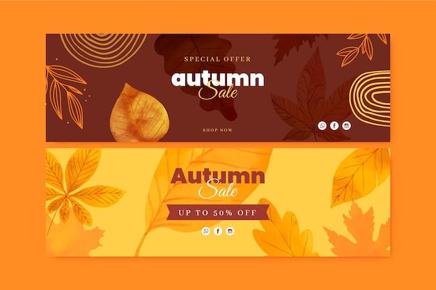 Ensemble de bannières de vente horizontale automne aquarelle