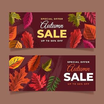 Ensemble de bannières de vente horizontale automne dessinés à la main
