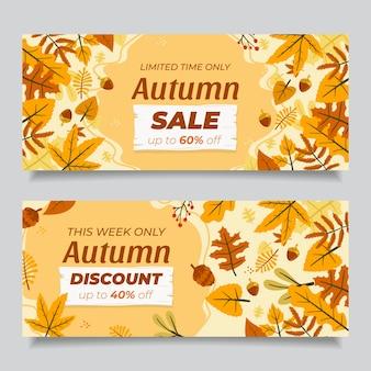Ensemble de bannières de vente horizontale automne plat dessinés à la main