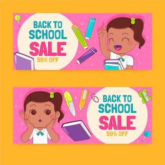 Ensemble de bannières de vente horizontale de retour à l'école dessinés à la main