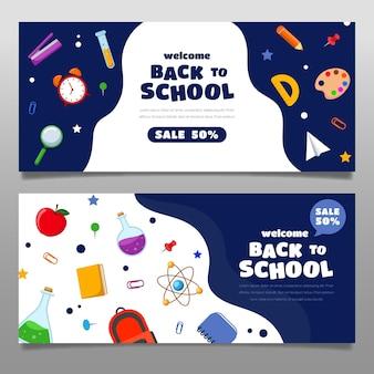 Ensemble de bannières de vente horizontale de retour à plat à l'école