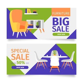 Ensemble de bannières de vente de meubles plats