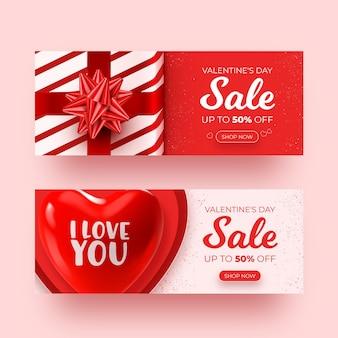 Ensemble de bannières de vente réalistes pour la saint-valentin