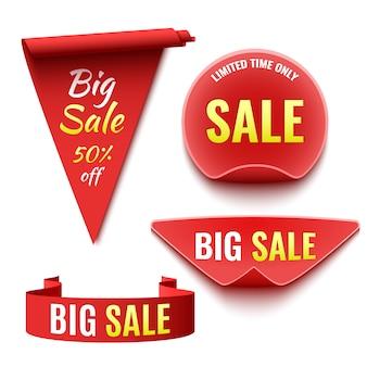 Ensemble de bannières de vente rouges. rubans et autocollants.