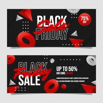 Ensemble de bannières de vente vendredi noir réaliste