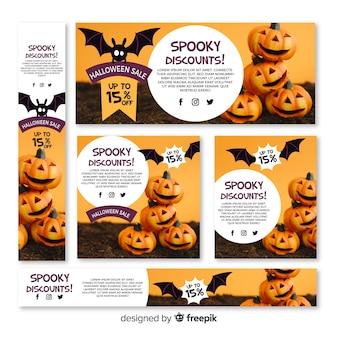 Ensemble de bannières de vente web halloween