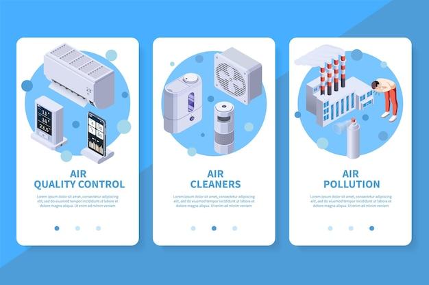 Ensemble de bannières verticales de l'application de contrôle de la qualité de la purification de l'air