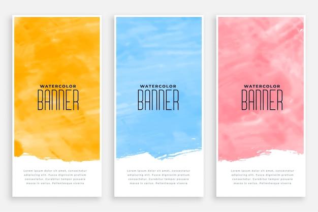 Ensemble de bannières verticales aquarelle abstraite de trois couleurs