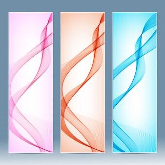 Ensemble de bannières verticales colorées avec des lignes courbes.