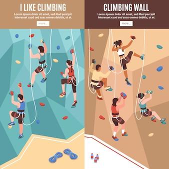 Ensemble de bannières verticales d'escalade