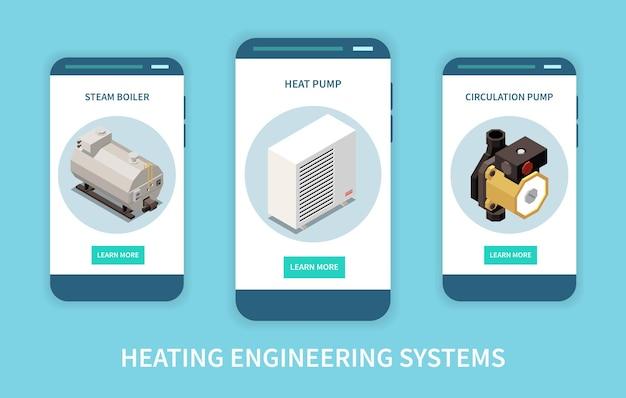 Ensemble de bannières verticales isométriques pour système d'ingénierie de chauffage