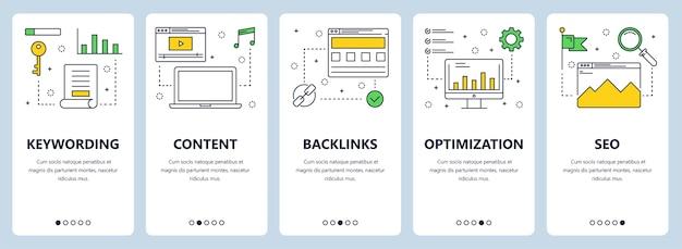Ensemble de bannières verticales avec mots-clés, contenu, backlinks, optimisation, modèles de sites web seo.