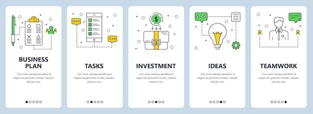 Ensemble de bannières verticales avec plan d'affaires, tâches, investissement, idées, modèles de site web de travail d'équipe. style plat moderne de ligne mince.