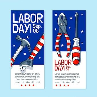 Ensemble de bannières verticales pour la fête du travail dessinés à la main