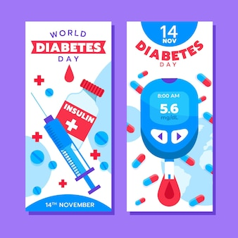 Ensemble de bannières verticales pour la journée mondiale du diabète dessinés à la main