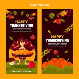 Ensemble de bannières verticales pour thanksgiving plat