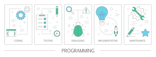 Ensemble de bannières verticales de programmation. idée de travail sur ordinateur, programme de codage, de test et d'écriture, en utilisant internet et différents logiciels. développement de site web. illustration