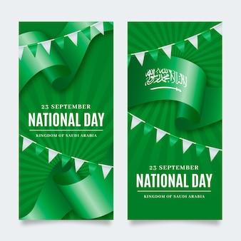 Ensemble de bannières verticales réalistes de la fête nationale saoudienne