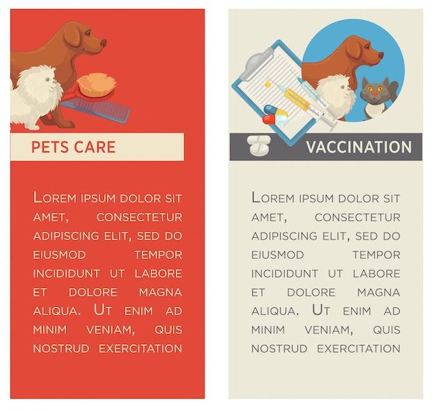 Ensemble de bannières verticales. s'occuper d'un animal. clinique vétérinaire. design plat.