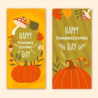 Ensemble de bannières verticales de thanksgiving dessinés à la main