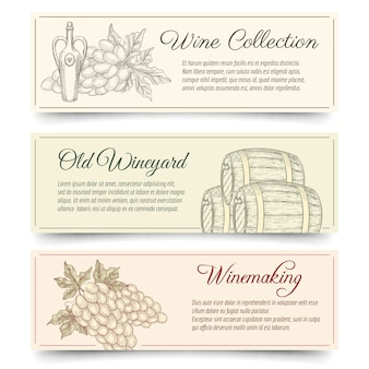 Ensemble de bannières de vin et de vinification. boire et nourriture, alcool produit, dégustation de raisins. bannières de vecteur de fabrication de vin dessinés à la main