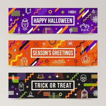 Ensemble de bannières de voeux halloween. collection de motifs avec des signes d'halloween, des symboles et des formes différentes abstraites.