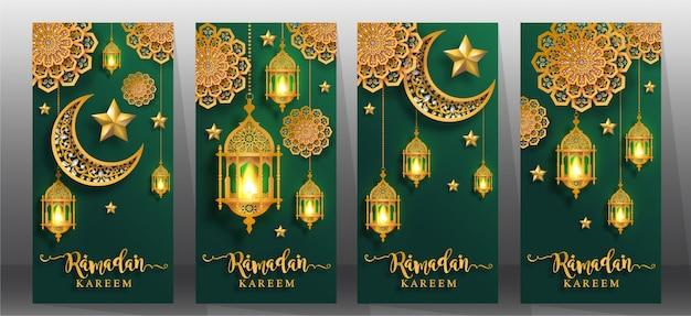 Ensemble de bannières de voeux ramadan kareem.