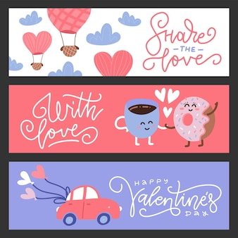 Ensemble de bannières de voeux saint valentin design plat. personnages mignons, voiture et ballon.