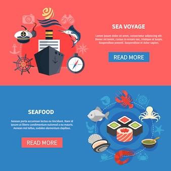 Ensemble de bannières de voyage en mer