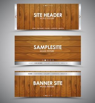 Ensemble de bannières web en bois