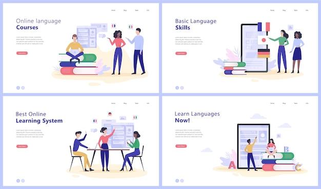 Ensemble de bannières web concept cours de langue en ligne