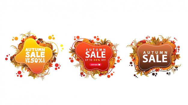 Ensemble de bannières web discount automne abstrait coloré dans des formes liquides et cadre de feuilles d'automne.