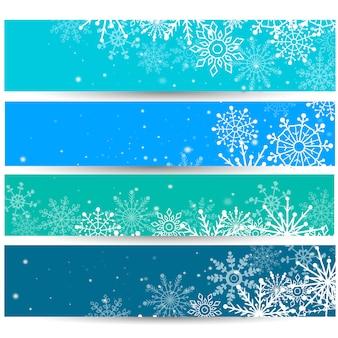 Ensemble de bannières web avec des flocons de neige. illustration