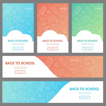Ensemble de bannières web avec des fournitures scolaires