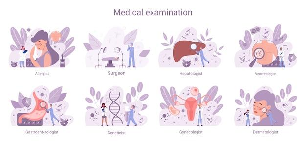 Ensemble de bannières web de spécialités médicales. gynécologue et allergologue, dermatologue et gastro-entérologue. diagnostic et traitement des maladies.