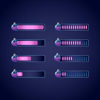 Ensemble de barre de progression de bouteille magique de potion de rpg de fantaisie gui pour l'illustration de jeux 2d