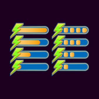 Ensemble de barre de progression d'énergie occasionnelle drôle pour les éléments d'actif de l'interface utilisateur de jeu