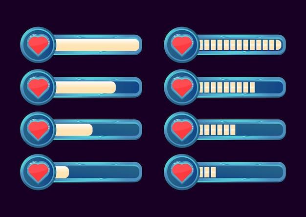 Ensemble de barre de progression de la vie et de la santé de l'interface graphique pour les éléments d'actif de l'interface utilisateur du jeu