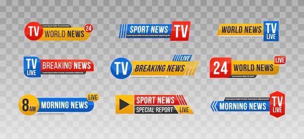 Ensemble de barres d'actualités télévisées bannière d'actualités pour la diffusion en continu de la télévision texte de la bannière d'actualités