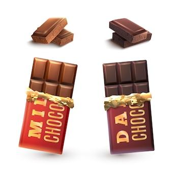 Ensemble de barres de chocolat