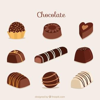 Ensemble de barres et de morceaux de chocolat délicieux