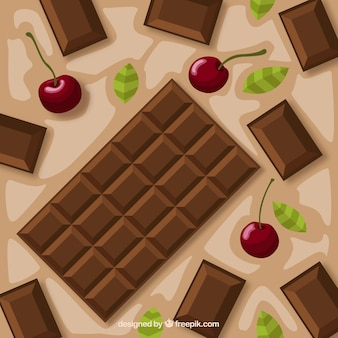 Ensemble de barres et de morceaux avec différents chocolats