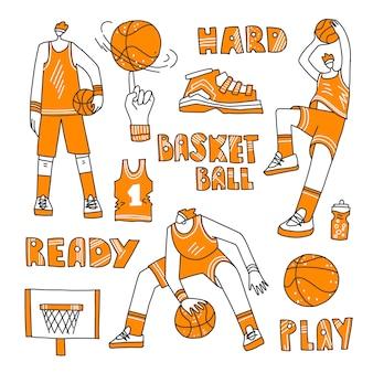 Ensemble de basket-ball doublé - joueurs de basket-ball, panier, ballon, baskets.