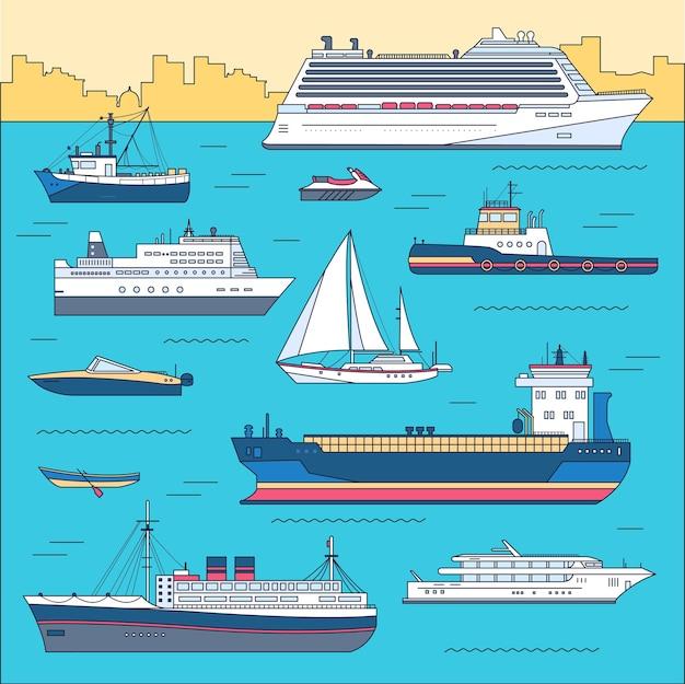 Ensemble de bateaux colorés plats
