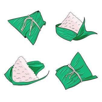Ensemble de bateaux dragons dessinés à la main zongzi