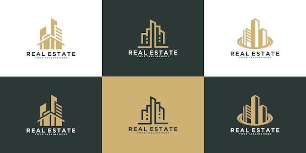 Ensemble de bâtiment de construction, immobilier, modèle de conception de logo à la maison