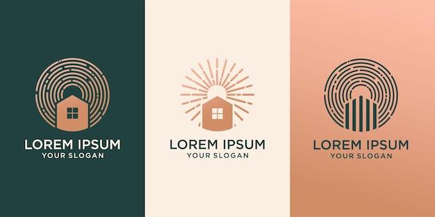 Ensemble de bâtiment de modèle de logo d'entreprise immobilière, maison, résidentiel, développement de propriété et conception de logo