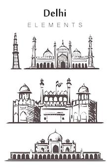 Ensemble de bâtiments de delhi dessinés à la main