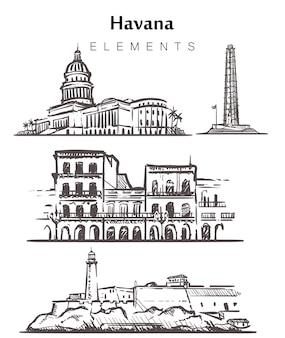 Ensemble de bâtiments de la havane dessinés à la main
